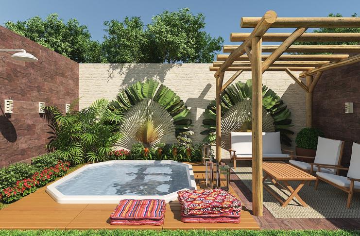 quintal reformado com piscina
